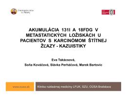 akumulácia 131i a 18fdg v metastatických ložiskách u pacientov s