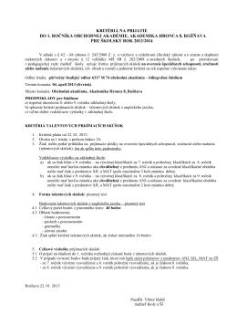 kritériá na prijatie do 1. ročníka obchodnej akadémie, akademika