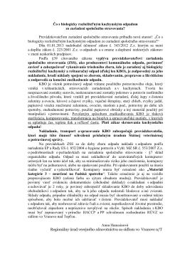 Usmernenie RÚVZ k zberu, manipulácii s biologicky rozložiteľným