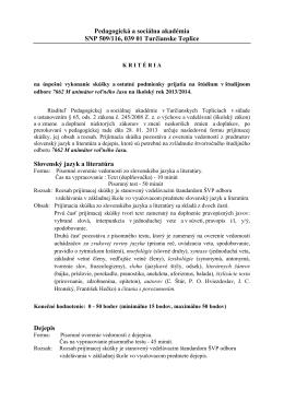 Pedagogická a sociálna akadémia SNP 509/116, 039 01 Turčianske