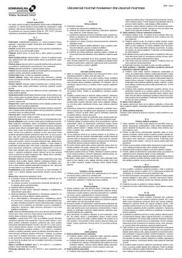 Všeobecné poistné podmienky pre úrazové poistenie.
