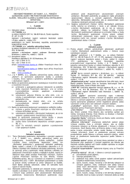 Obchodné podmienky J&T Banka, a. s., pobočky zahraničnej banky