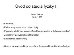 Úvod do štúdia fyziky II.