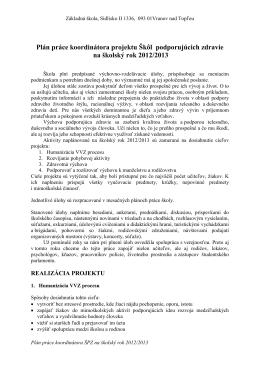 Plán práce koordinátora ŠPZ - Základná škola, Sídlisko II 1336