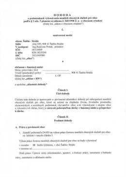 Dohoda o podmienkach vykonávania mensích obecných sluzieb pre