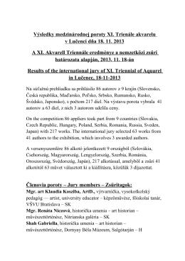 Výsledky medzinárodnej poroty XI. Trienále akvarelu v Lučenci dňa