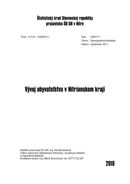 CACHEID=e19ebb74-3bda-4135-aceb-a630b93ea574;Vývoj obyvateľstva v Nitrianskom kraji 2010