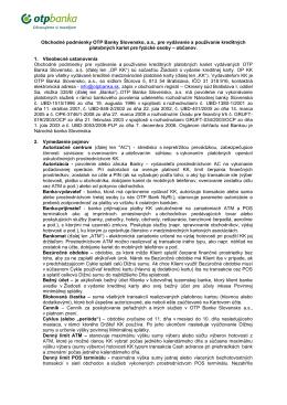 Obchodné podmienky OTP Banky Slovensko, a.s., pre vydávanie a