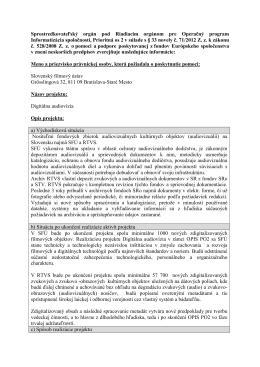 Dodatočné informácie v súlade s § 33 novely č. 71/2012 Z.z.