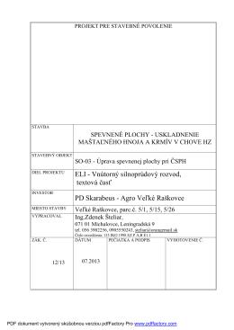 ELI - Vnútorný silnoprúdový rozvod, textová časť PD Skarabeus
