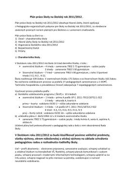 Plán práce školy na školský rok 2011/2012 . V školskom roku 2011