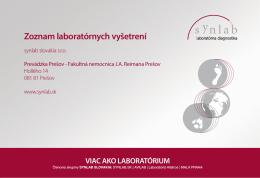 Zoznam poskytovaných vyšetrení, Prešov.