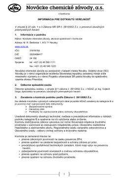 dotknutá verejnosš_2010 - Novácke chemické závody a.s., Nováky