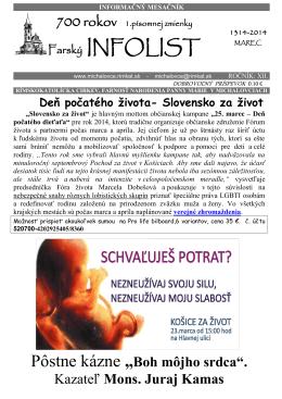 Infolist č. 3 - Rímskokatolícka farnosť Narodenia Panny Márie