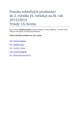 Ponuka voliteľných predmetov do 2. ročníka (6. ročníka) na šk. rok