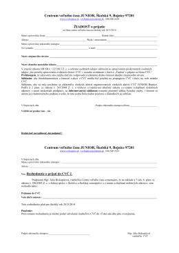 Centrum voľného času JUNIOR, Školská 9, Bojnice 97201 ŽIADOSŤ