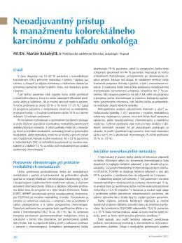 Neoadjuvantný prístup k manažmentu kolorektálneho karcinómu z