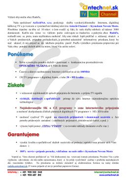 Vážení obyvatelia obce Radoľa, Naša spoločnosť AnTechNet, s.r.o