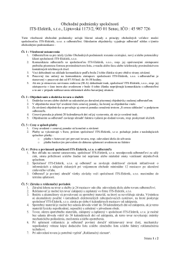 Obchodné podmienky spoločnosti ITS-Elektrik, s.r.o., Liptovská 1173