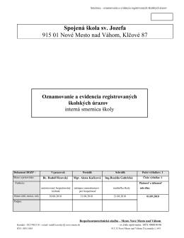 Spojená škola sv. Jozefa 915 01 Nové Mesto nad Váhom, Klčové 87