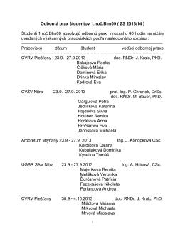 Odborná prax študentov 1. roč.BIm09 ( ZS 2013/14 ) Študenti 1 roč