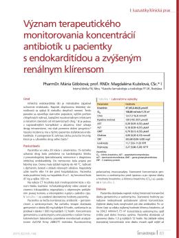 Význam terapeutického monitorovania koncentrácií antibiotík u