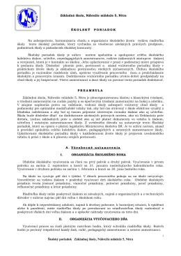 Školský poriadok ZŠ Nábrežie mládeže NITRA platný od 2. 9. 2013