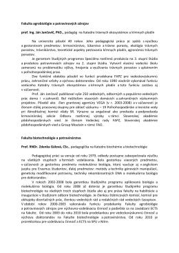 Fakulta agrobiológie a potravinových zdrojov prof. Ing. Ján Jančovič