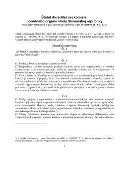 Štatút Akreditačnej komisie, poradného orgánu vlády Slovenskej