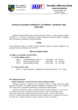 Kritéria pre prijatie uchádzačov o štúdium na šk. rok 2012/13