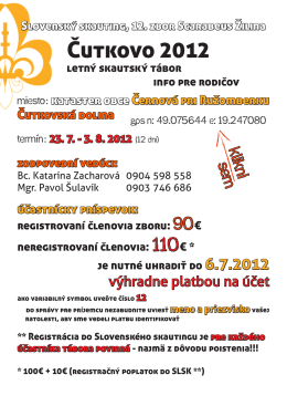 Prihlášku nájdete tu - Slovenský skauting, 12. zbor Scarabeus Žilina