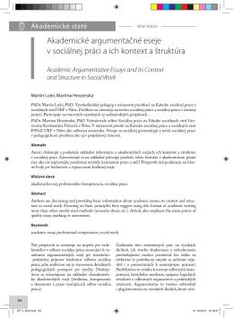 Akademické argumentačné eseje v sociálnej práci a ich kontext a