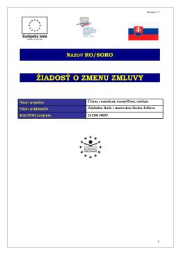 Žiadost o zmenu zmluvy - Základná škola s materskou školou Jelšava