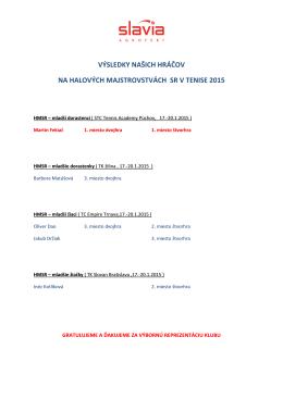 výsledky našich hráčov na halových majstrovstvách sr v tenise 2015