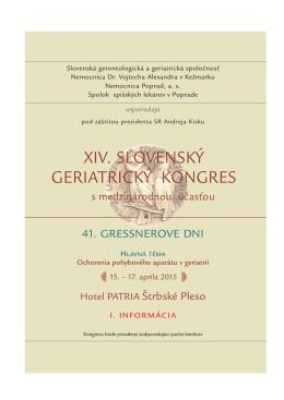 I. informácia kongresu - Slovenská Gerontologická a Geriatrická