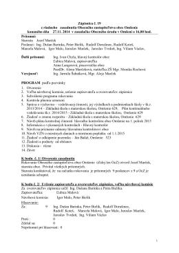 Zápisnica č. 19 z riadneho zasadnutia Obecného zastupiteľstva
