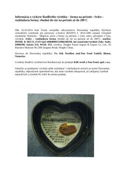Informácia o výskyte škodlivého výrobku – forma na pečenie : Srdce