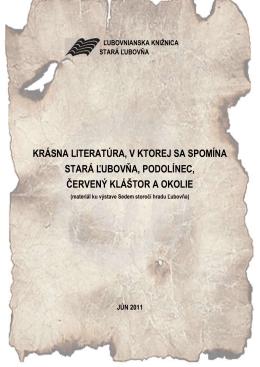 Krásna literatúra, v ktorej sa spomína Stará Ľubovňa, Podolínec