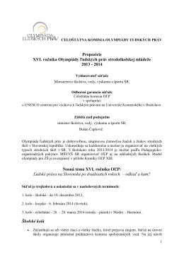 Propozície OĽP XVI.