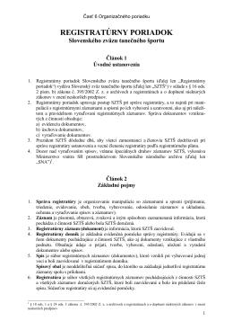OP - 6. Registratúrny poriadok - Slovenský Zväz Tanečného Športu