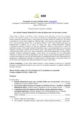 Karpatský rozvojový inštitút, Košice v spolupráci s Ekonomickou