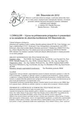 XIII. Štiavnické dni 2012 1.CIRKULÁR – Výzva na prihlasovanie