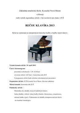 rečou klavíra 2013 - Základná umelecká škola v Kysuckom Novom