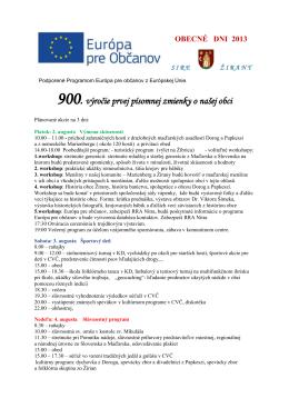 900. výročie prvej písomnej zmienky o našej obci - Informácie