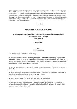 VZN č. 2/2014 o financovaní materskej školy a školských zariadení