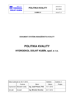 POLITIKA KVALITY - Hydroekol Dolný Kubín spol. s.r.o.