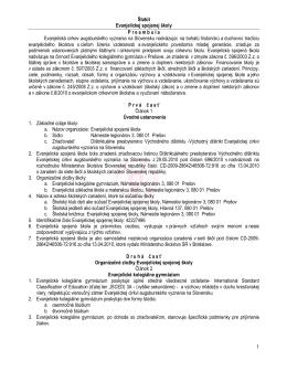 Štatút Evanjelickej spojenej školy - Evanjelická spojená škola, Prešov