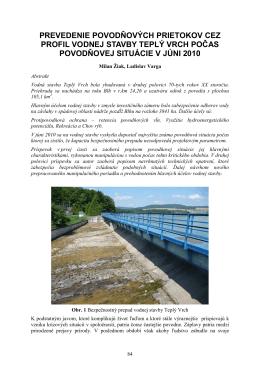 prevedenie povodňových prietokov cez profil vodnej stavby teplý