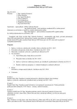 Zápisnica č. 3/2013 zo zasadnutia Rady školy pri SOŠ Senica Dňa