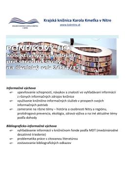 Podujatia pre stredné školy - Krajská knižnica Karola Kmeťka v Nitre